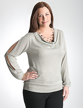 Split sleeve shimmer sweater