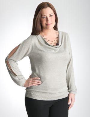 Split sleeve shimmer sweater