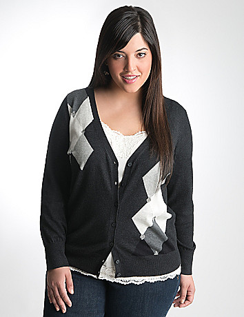 Full Figure Argyle Cardigan by Lane Bryant