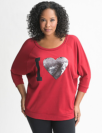 Plus Size Sequin Heart Dolman Top by Lane Bryant