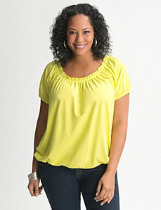 Plus Size Bubble Hem Peasant Tee