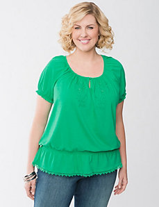 Embroidered peasant peplum top