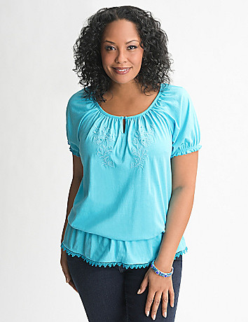 Full Figure Embroidered Peasant Peplum Top