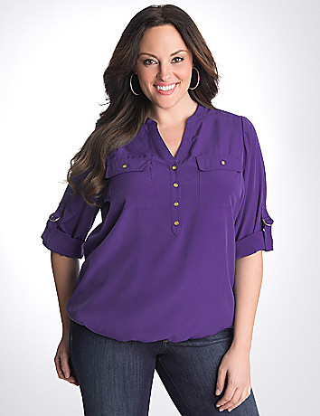Plus Size Bubble Hem Utility Blouse by Lane Bryant