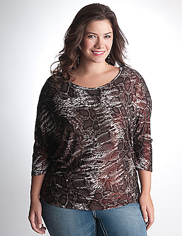 Shimmer snake dolman top by Seven7