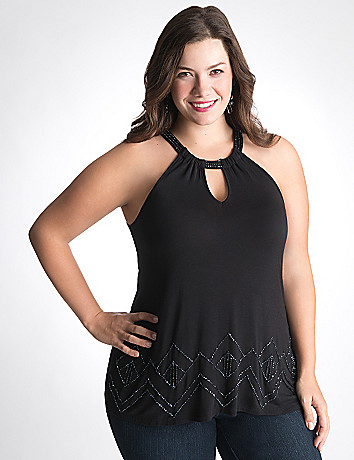 Bead embellished halter top by Lane Bryant