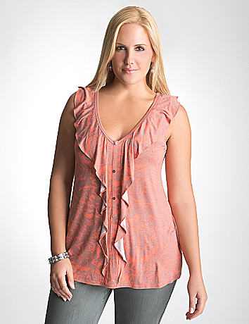Plus Size Floral Ruffle Tank by Lane Bryant