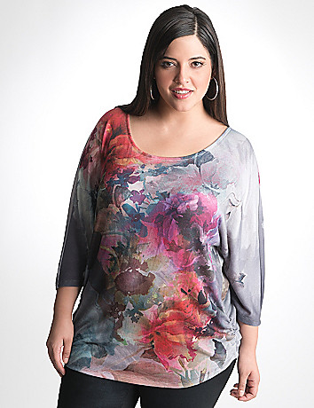 Plus Sized Floral Shirred Top by Seven7