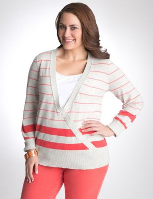 Striped surplice sweater