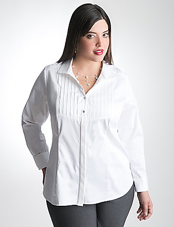 Plus Size Tuxedo Front Shirt by Lane Bryant