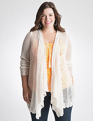 Full Figure Open stitch draped cardigan