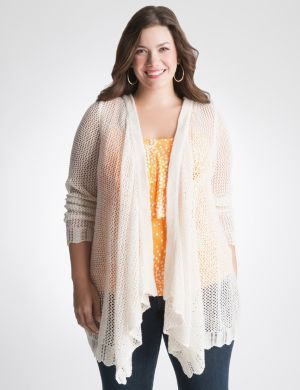 Open stitch draped cardigan