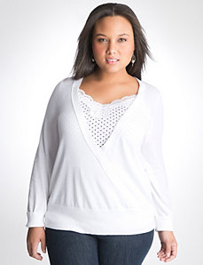 Full Figure Surplice Sweater by Lane Bryant