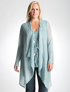 Open stitch long cardigan