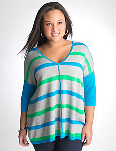 T shape striped sweater by Lane Bryant
