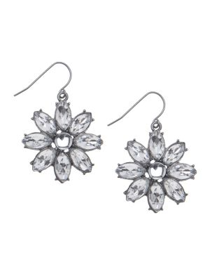 Rhinestone flower earrings by Lane Bryant