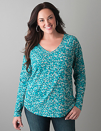 Animal print long sleeve tee by Lane Bryant