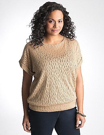 Full Figure Metallic Mesh Top by Lane Bryant