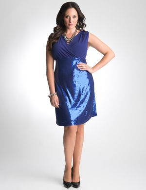 Sequin surplice dress