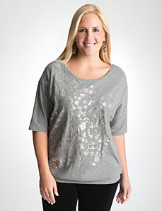 Plus Size Sequin Band Bottom Top by Lane Bryant
