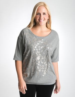 Sequin banded bottom tee