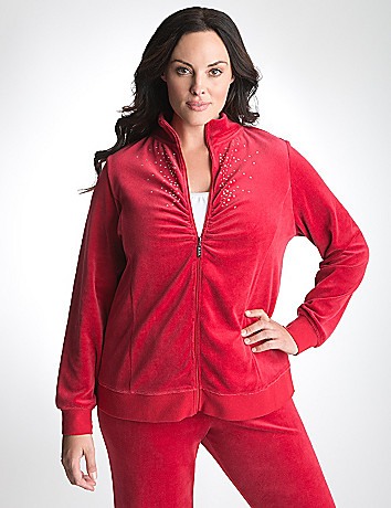 Plus Size Rhinestone Velour Jacket