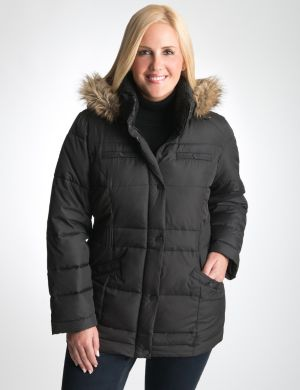 Cinched waist puffer coat