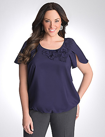 Rosette short sleeve blouse by Lane Bryant