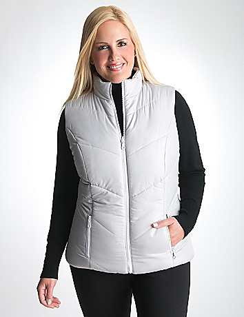 Plus Size Reversible Puffer Vest by Lane Bryant