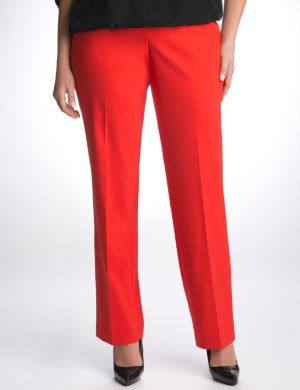 Double weave stretch straight-leg pant