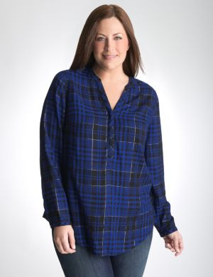 Shimmer plaid henley top
