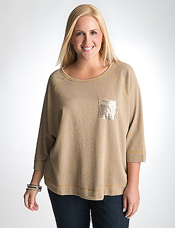 Sequin pocket dolman top by Lane Bryant