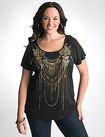 Plus Size Foiled Graphic Tee by Lane Bryant