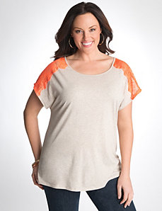 Plus Size Lace Shoulder Tee by Lane Bryant