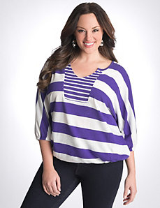 Plus Size Mixed Stripe Banded Bottom Top by Lane Bryant