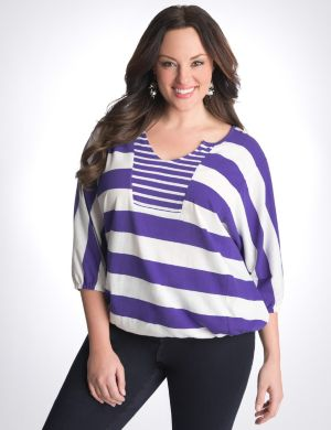Mixed stripe banded bottom top
