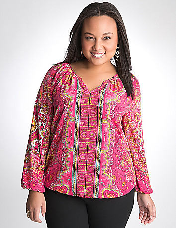 Full figure Scarf Print Peasant top by Lane Bryant