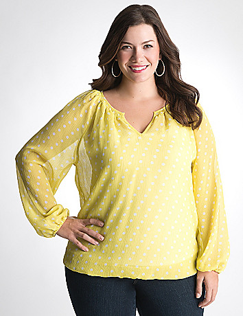 Full figured Smock Neck Peasant Top by Lane Bryant