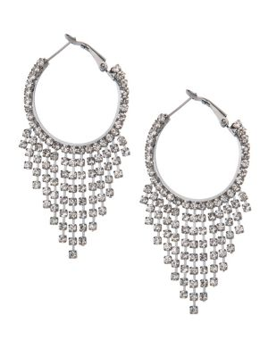 Rhinestone chain hoop earrings by Lane Bryant