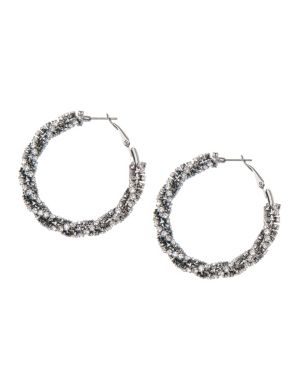 Rhinestone wrapped hoop earrings by Lane Bryant