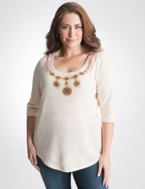 Sequin necklace tee