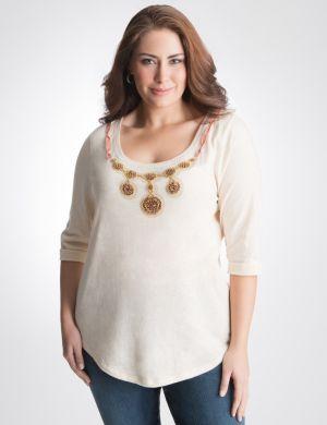 Sequin necklace tee