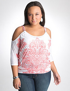 Cold shoulder burnout top by Lane Bryant