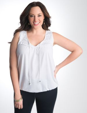 Smocked banded bottom tank