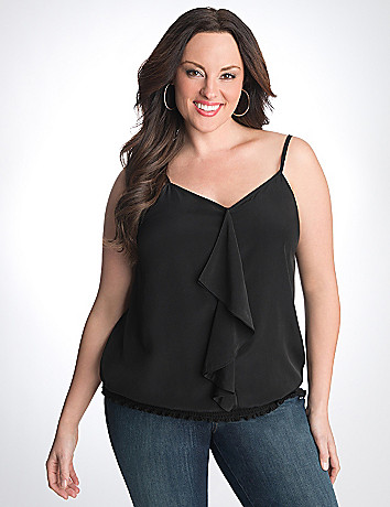 Full Figure Ruffled Banded Bottom Cami by Lane Bryant
