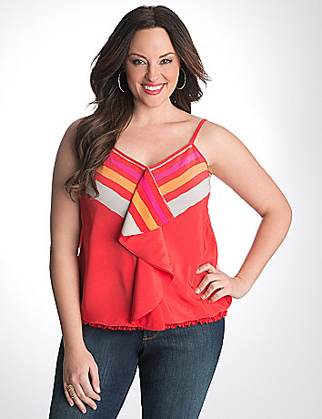 Plus Size Striped Banded Bottom Cami by Lane Bryant