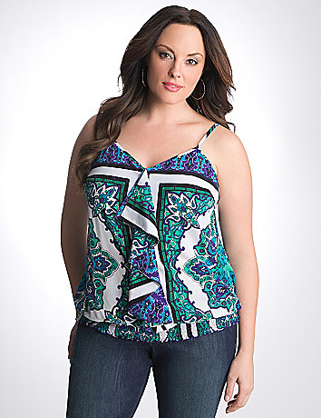 Full Figure Paisley Banded Bottom Cami by Lane Bryant