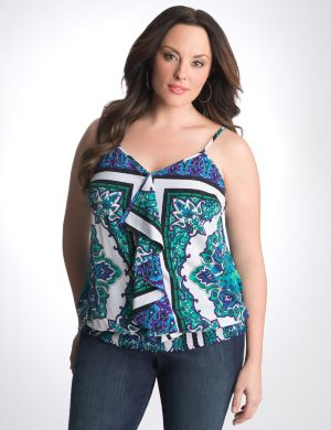 Scarf print banded bottom cami