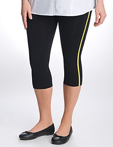 Control top striped capri leggings by Lane Bryant