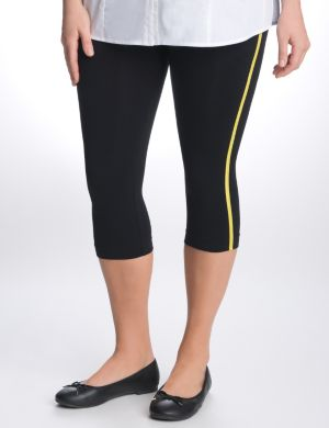 Control top striped capri leggings